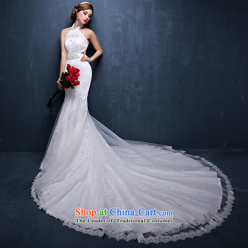 The new Europe and the 2015 Summer hang also video thin crowsfoot straps wedding marriages trailing white wedding dresses XXL( waist 2.4)