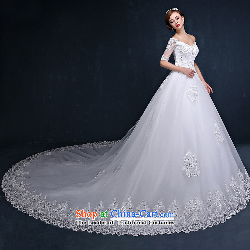 Wedding dress 2015 new Korean word Shoulder Strap Sleeve marriages video thin straps trailing white summer wedding dresses?XXL_ waist 2.4_