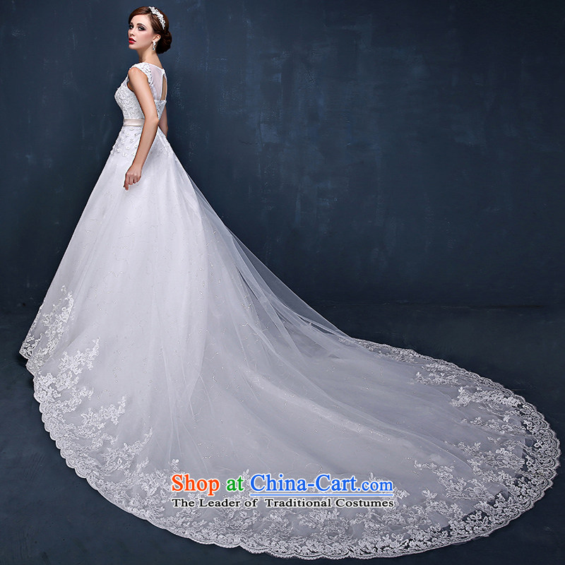Wedding dresses Summer 2015 new Korean shoulders flowers graphics thin marriages trailing white wedding dresses?XXL( waist 2.4)