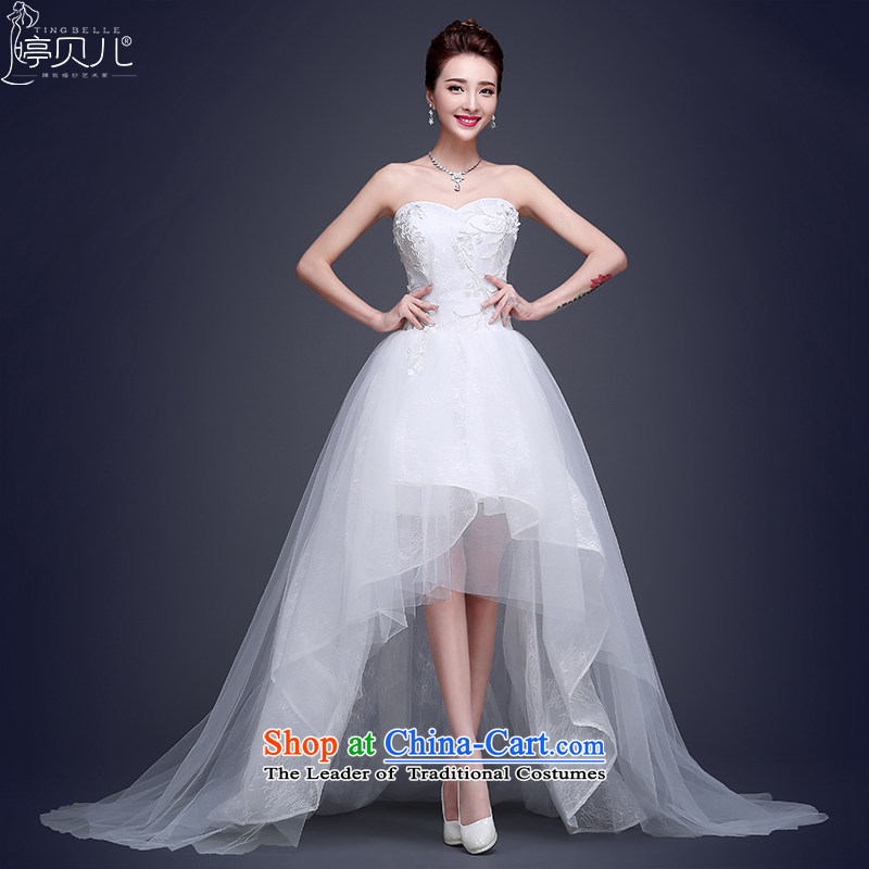 Beverly Ting front stub long after the winter wedding dresses, 2015 New short Korean fashion and chest tail wedding band of Sau San White?XL