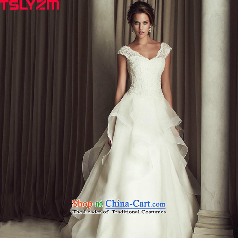 Tslyzm tail wedding dresses stylish Western retro marriages shoulders V-Neck back skirt 2015 autumn and winter wedding trailing?S
