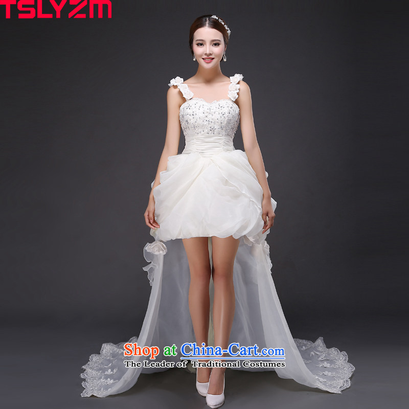 The Korean version of the wedding tslyzm short skirts, bon bon brides before replacing the princess large short long after the end of the drag and drop small wedding 2015 new autumn and winter White?XL