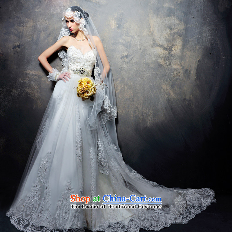 Full Chamber Fang 2015 Summer wedding dresses advanced new custom Korean wedding dress wiping the chest wedding   H694 tail 173-L 60cm
