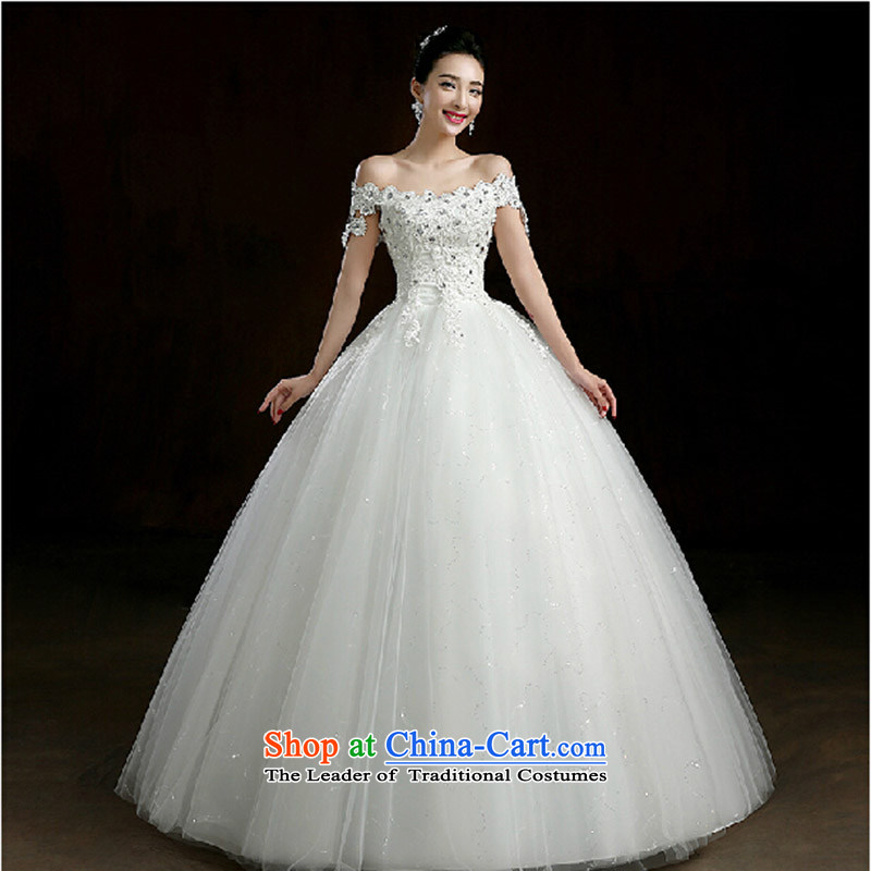 The new word wedding your shoulders to wedding hibiscus flower decoration nail pearl wedding bride wedding dresses White M