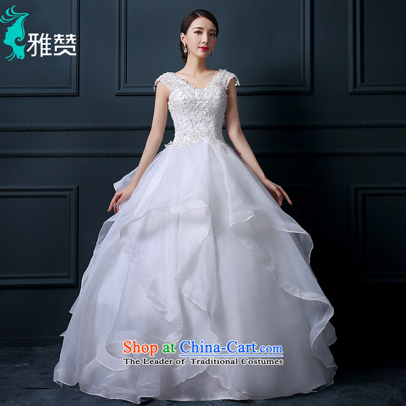 Jacob Chan won wedding dresses shoulders 2015 Summer new lace bride to align the Sau San Princess Pearl white petticoat bon bon S