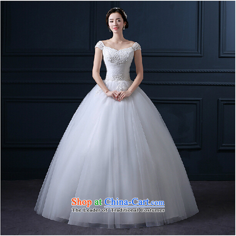 2015 new shoulders a field to align the shoulder bon bon yarn marriages wedding dresses spring and summer Korean style with white聽L thin graphics