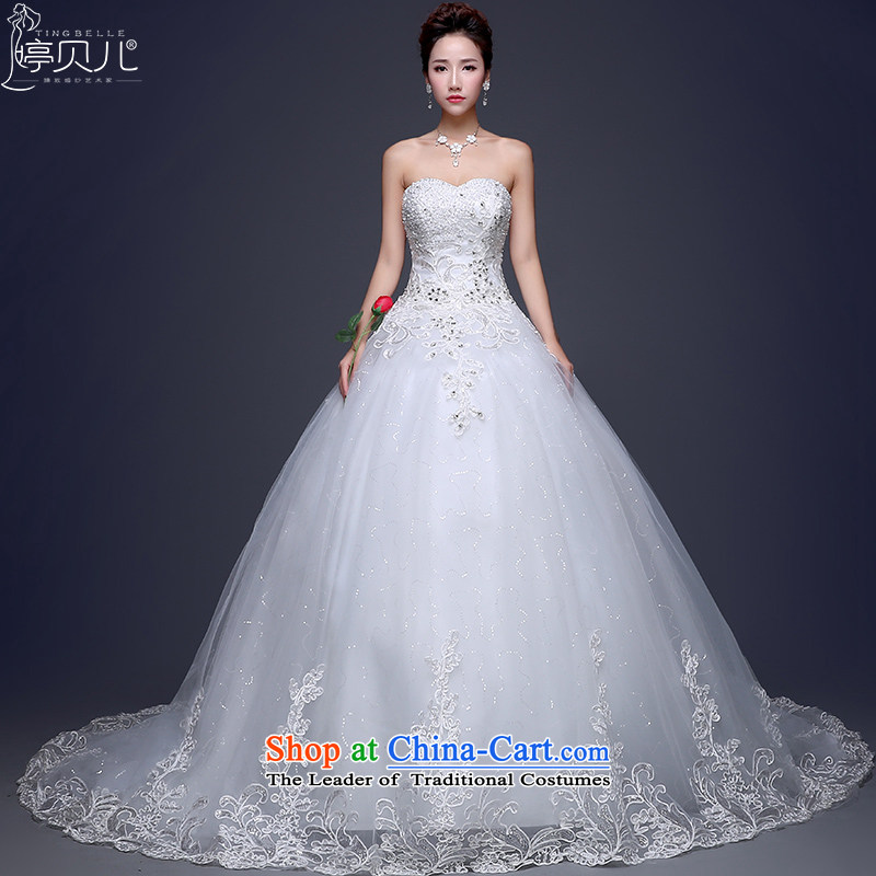 Beverly Ting wedding dresses 2015 winter new Korean marriages and chest long tail wedding video thin lace larger drill White聽XL
