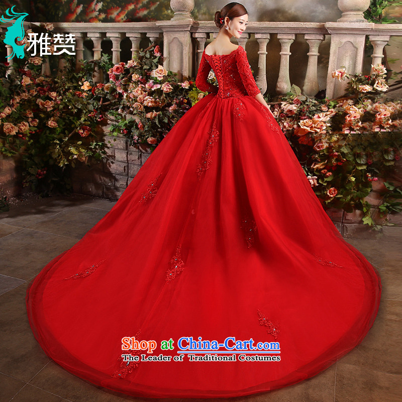Jacob Chan red wedding to marry field shoulder length tail 2015 new bride autumn and winter Korean long-sleeved lace water drilling upscale red?S