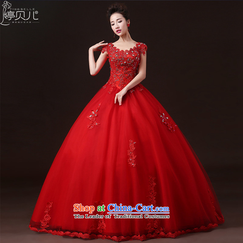 Beverly Ting wedding dresses during the summer of 2015, the new field shoulder bride shoulders red wedding to align the Korean style large drill Sau San Red?XXL
