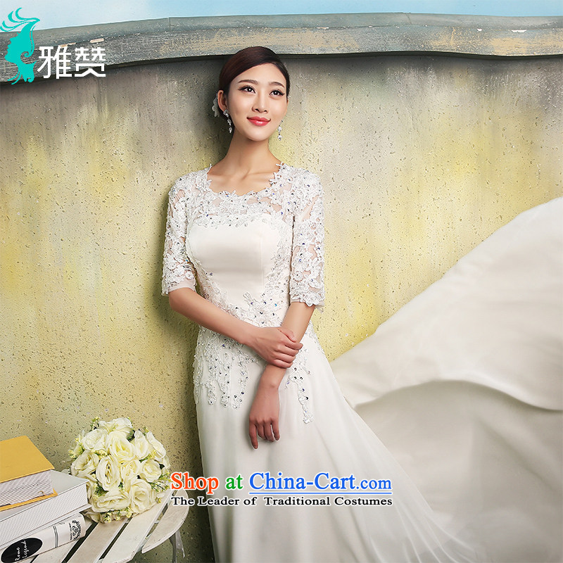 Jacob Chan bride slotted shoulder small trailing wedding dresses in the autumn and winter 2015 cuff new products satin damask chiffon video thin lace stars of the same white?L