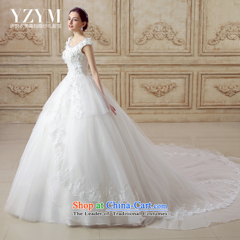 El drunken Yi Mei bride wedding dresses Summer 2015 New Butterfly Festival back large tail wedding round-neck collar align to wedding dress you can disassemble the smearing wedding tail L