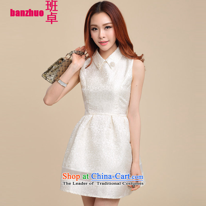 The Taliban Cheuk stylish skirt the new Korean version of Sau San sleeveless bridesmaid dress bon bon dresses m White S