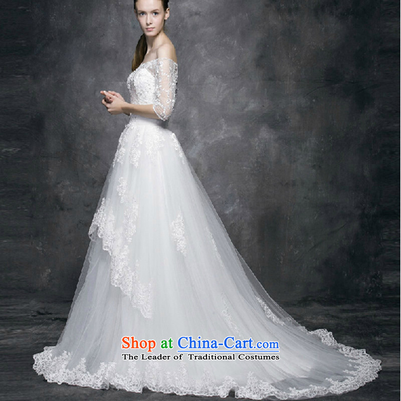 2015 new long-sleeved wedding in spring and summer tail of the Word version of large Korean shoulder code lace custom bride wedding dresses made white, no withdrawal did not change size