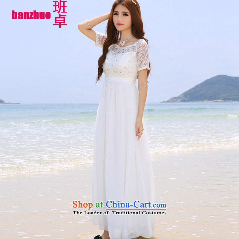 The Taliban Cheuk-yan Korea Maldives beach wedding dress nail pearl diamond dress long skirt white?S