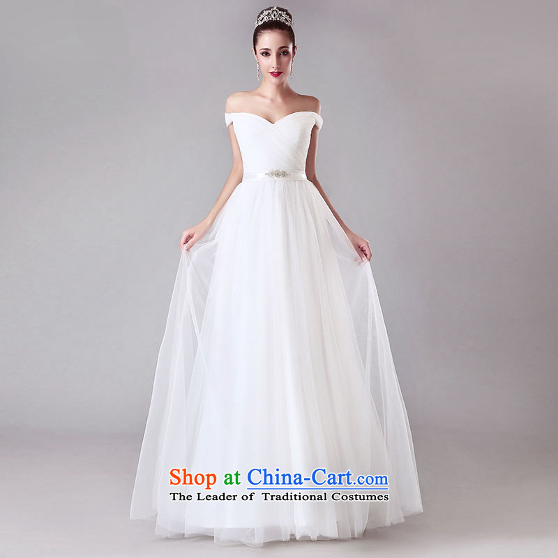 Millennium bride?2015 Summer new word shoulder bride wedding dresses shoulders to align the V-Neck wedding simple continental White?XL