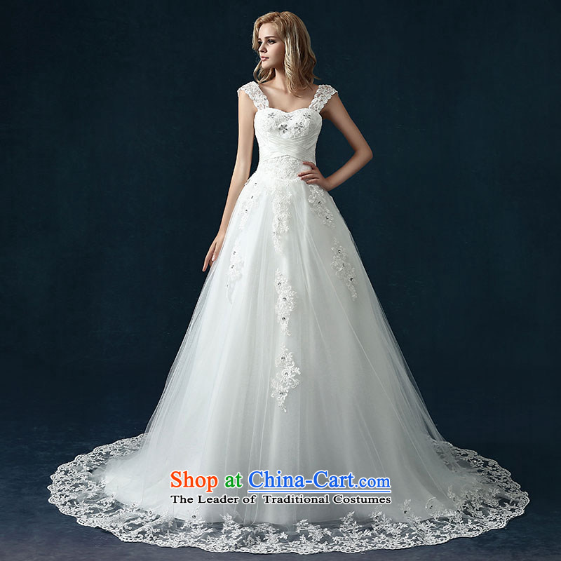 The spring of the new millennium the bride 2015 wedding dresses new stylish bride first field pregnant women shoulder wedding dresses tail wedding White XL