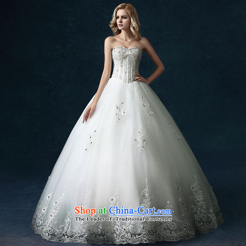 Millennium bride�2015 Spring/Summer new high-side custom continental alignment with chest marriages lace wedding dresses white�L