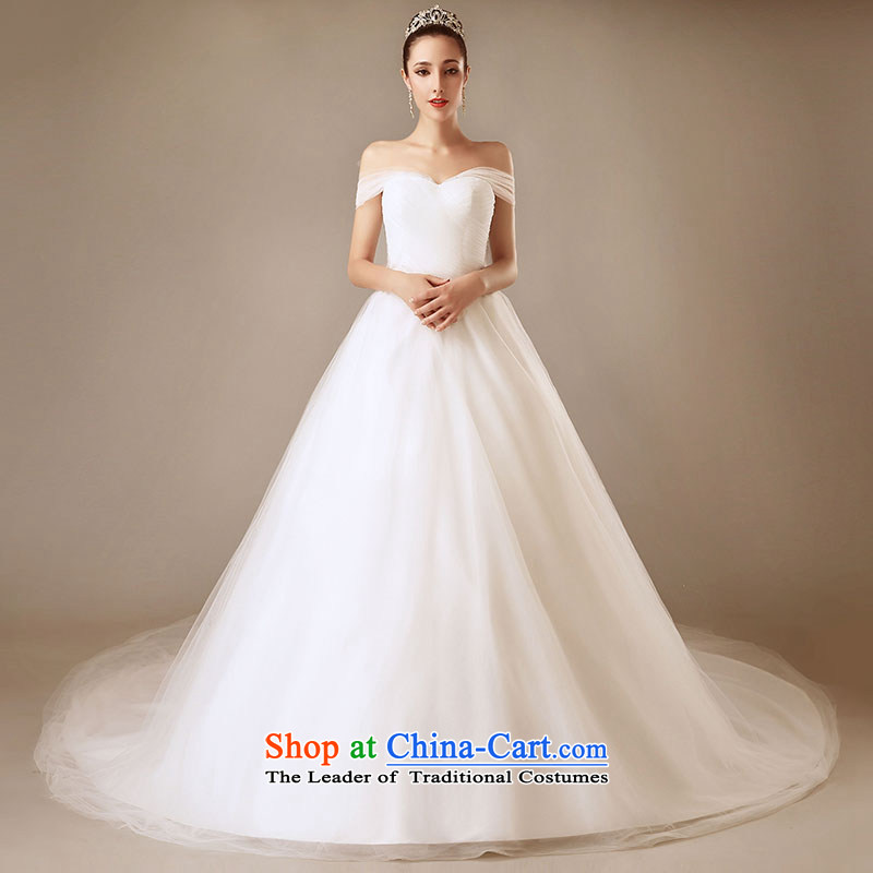 Millennium bride?2015 New Europe and the simple and stylish white streaks in the word dual shoulder shoulder Sau San wedding dresses White?XL