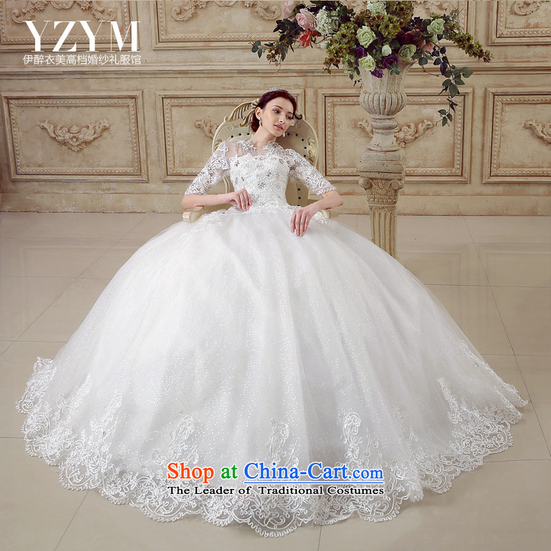 El drunken Yi Mei bride wedding dresses Summer 2015 new three-dimensional retro lace disc is cuff palace wind wedding bride wedding dress in the noble cuff wedding tail聽XL