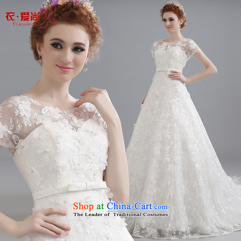 Wedding dresses 2015 Spring New Korean brides with minimalist larger video thin tail shoulders the word wedding Shoulder Drill summer white?S