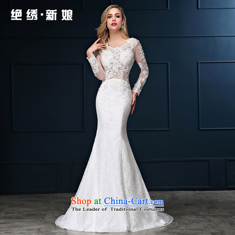 Summer 2015 new Korean lace package shoulder larger video thin Sau San crowsfoot marriages with tail wedding dresses white tailored does not allow
