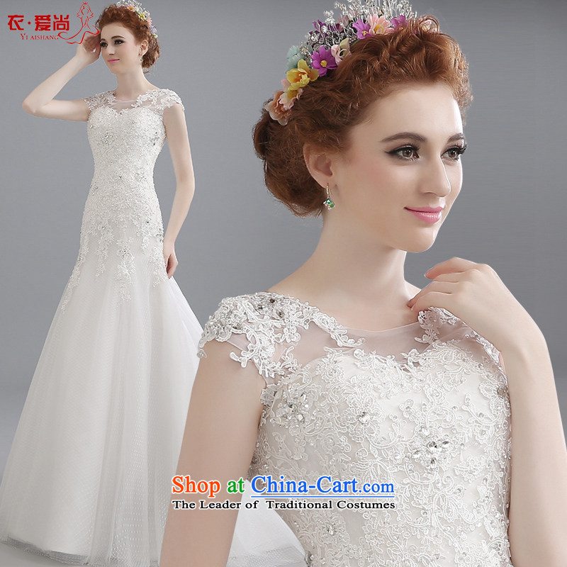 2015 Summer new word shoulder bride wedding dresses long tail align to Korean large Sau San lace large white tail can be made plus $30 Does Not Return