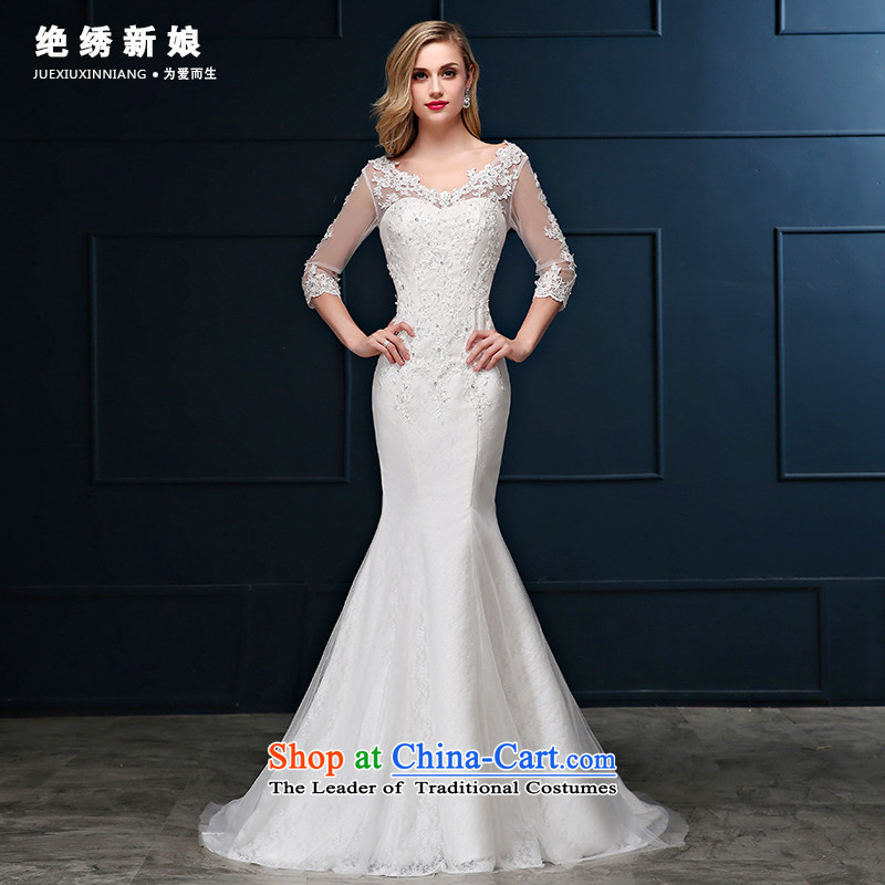 Summer 2015 new Korean lace package shoulder larger crowsfoot marriages in Sau San cuff small trailing white wedding dresses?S code?1 ft 9 waist Suzhou Shipment