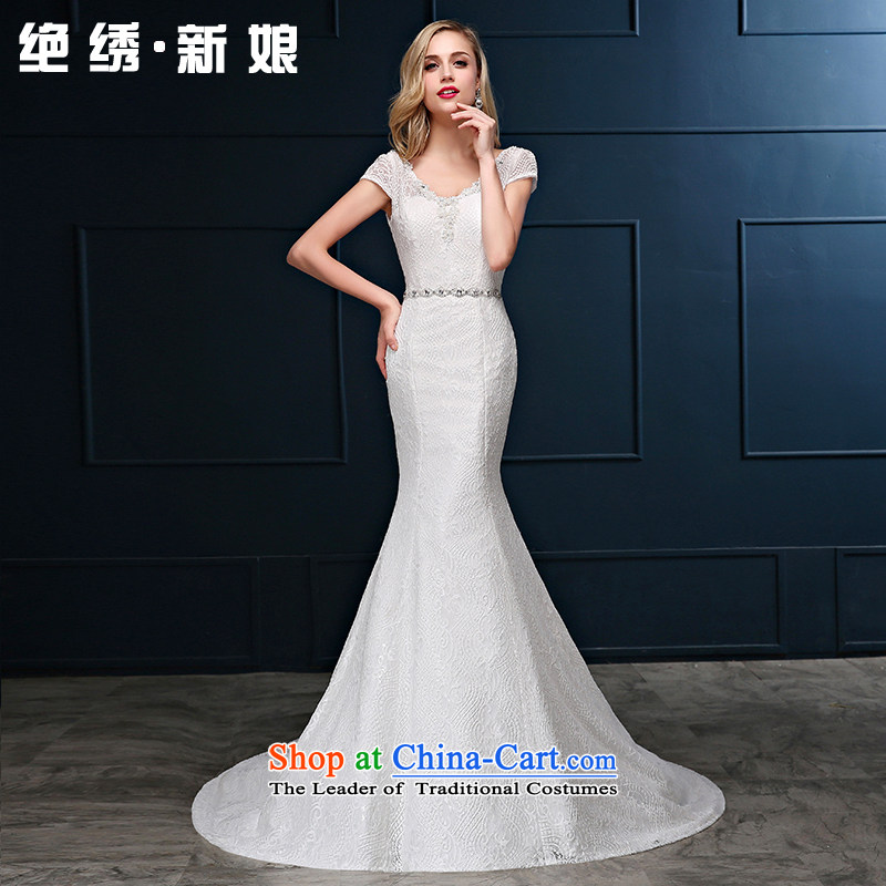 Summer 2015 new Korean shoulders large graphics thin straps crowsfoot Sau San marriages Sau San tail wedding dresses white?L?2 feet 1 waist Suzhou Shipment