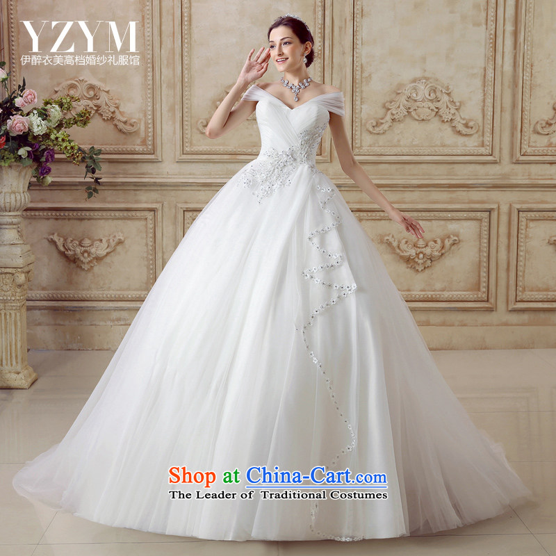 El drunken Yi Mei bride wedding dresses the word shoulder Phoenix flower embroidery tail wedding anointed chest shoulders video thin wedding dress 2015 Summer new short drag wedding tail?XL