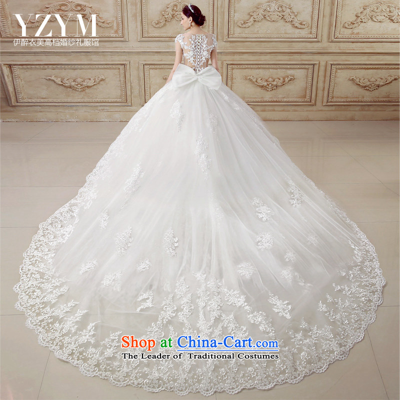 El drunken Yi Mei bride wedding dresses Summer 2015 new short-sleeved sexy back to align the wedding Removable Tail lace engraving flowers wedding dresses trailing?M