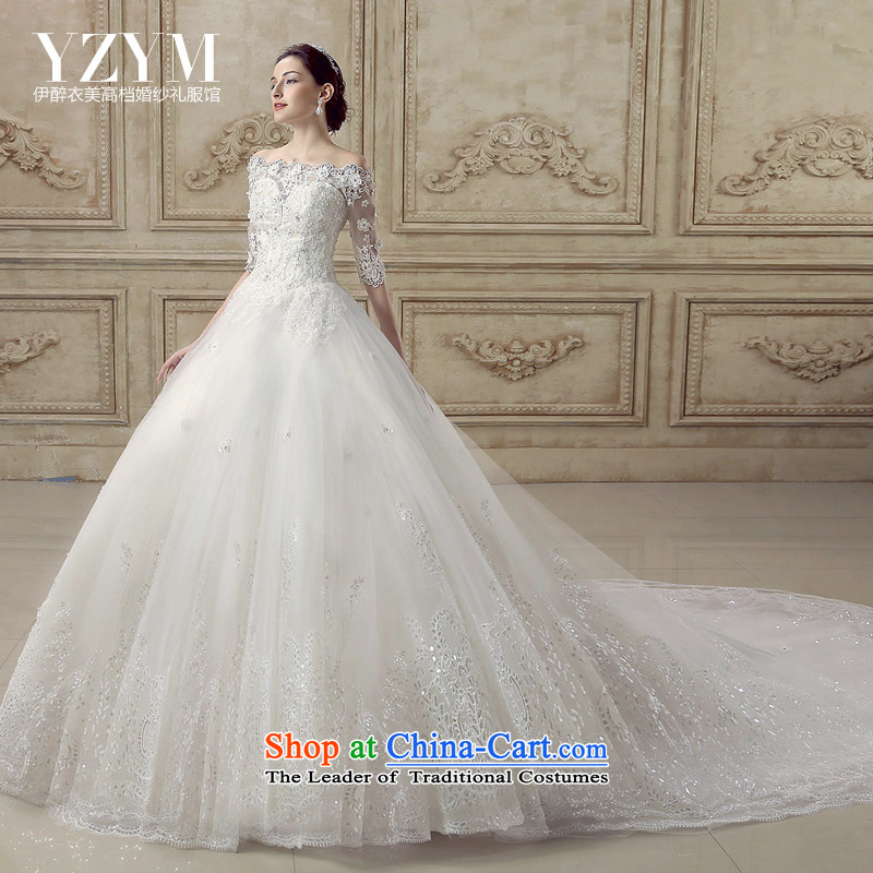 El drunken Yi Mei bride wedding dresses Summer 2015 new word retro shoulder tail bridal dresses cuff lace drill align Sau San to wedding dress bride tail trailing?M