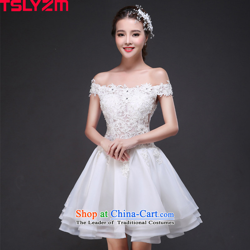 Short of the bride tslyzm field shoulder wedding dresses 2015 autumn and winter new fluoroscopy lace white princess bon bon coin cell (A S skirt