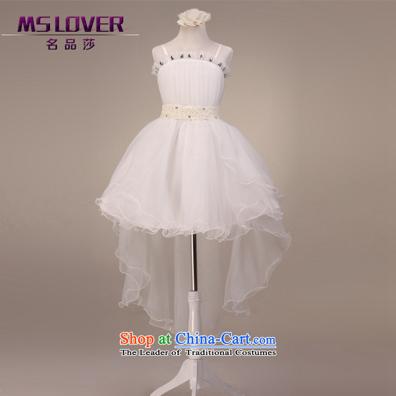 Before long after short mslover bon bon skirt girls princess skirt children dance performances to dress wedding dress Flower Girls dress 9001 m White 14 yards