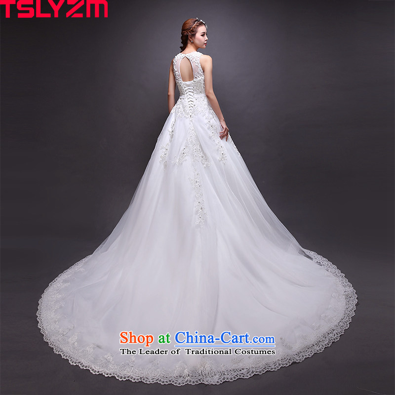 The shoulders, tail tslyzm2015 to align the new wedding autumn and winter round-neck collar shoulders fluoroscopy lace flowers Bow Tie Korean skirt tail)?S