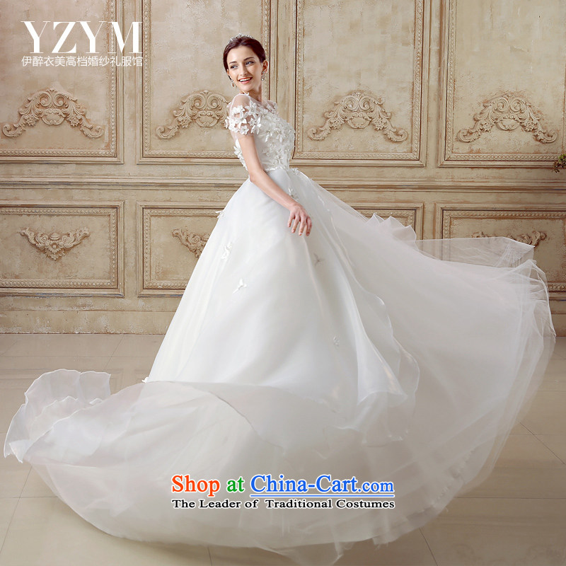 El drunken Yi Mei bride Wedding Dress Short-sleeved back tail wedding OSCE root yarn wedding dress flowers Wedding?2015 Summer new bride wedding tail?L