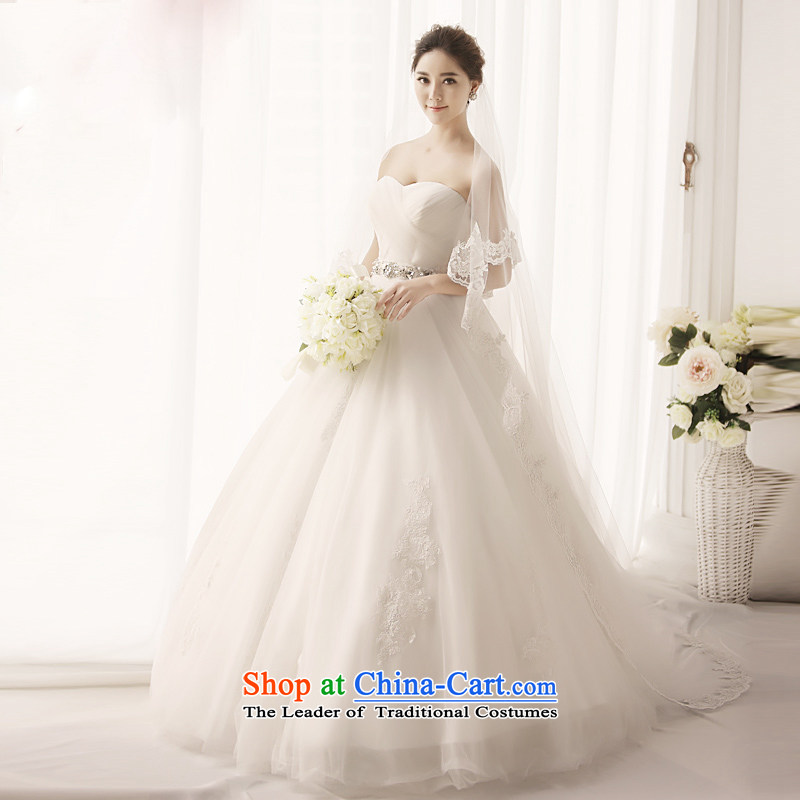Full Chamber Fang 2015 new anointed chest Princess Deluxe retro church wedding dresses bon bon skirt tail of Korea wedding�S1393�tail 165-XL 100cm