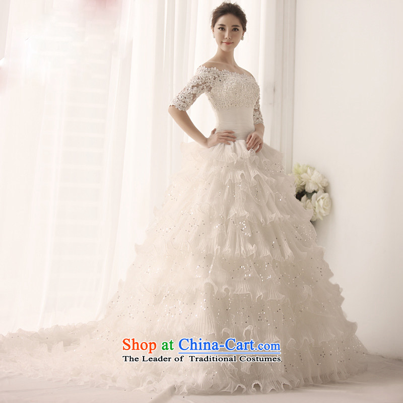 Full Chamber Fang 2015 new marriage skirt Korea wedding package shoulder strap sleeve shoulder a wedding dresses bon bon skirt deluxe tail聽S1391聽ivory tail 165-L 60cm