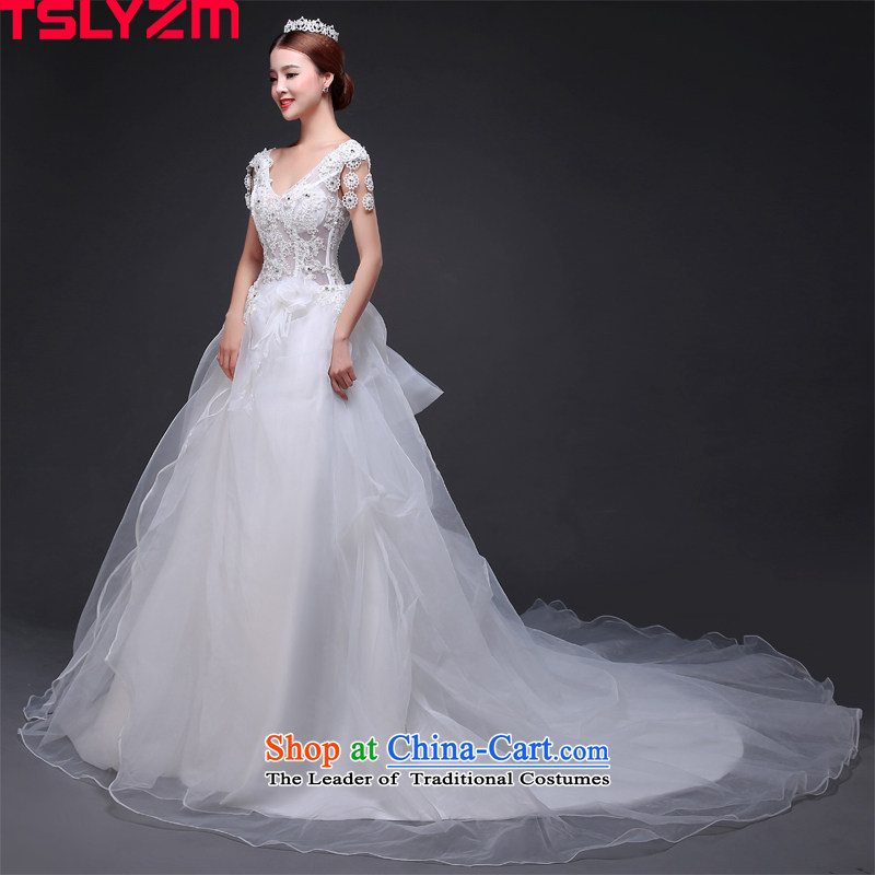 The bride tslyzm shoulders tail wedding dresses new 2015 autumn and winter Korean lace large bow tie V-Neck word fluoroscopy package Shoulder Drill skirt white water?S