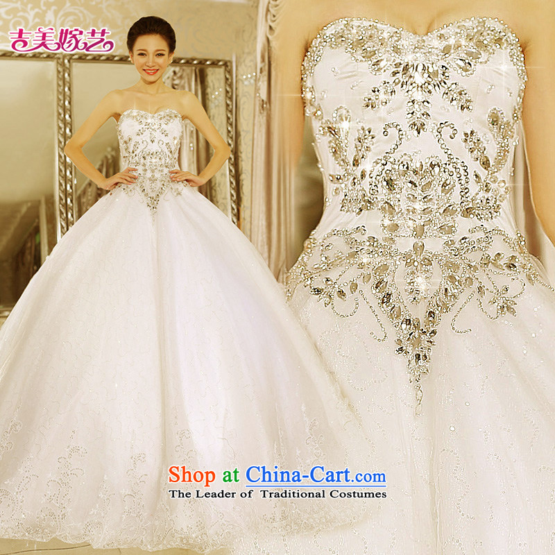 Kyrgyz-US married arts wedding dresses 2015 new Korean anointed chest bon bon skirt to align the diamond wedding white 7645 bride XS