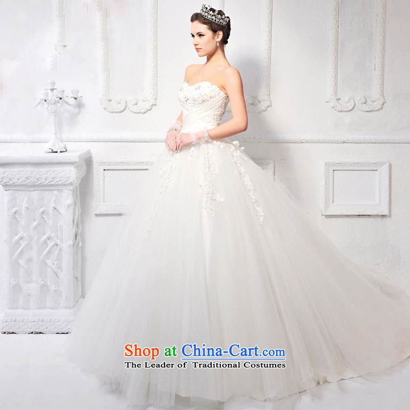Full Chamber of Korea Won Custom Fong version with chest wedding dresses long tail Korean Style?New 2015 skirt marriage?s613?ivory tail 165-S 100cm