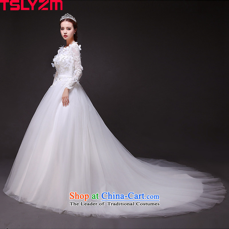The bride tail tslyzm wedding dress of autumn and winter 2015 new long-sleeved package shoulder round-neck collar Flower Fairies  video thin wedding and tail)?S