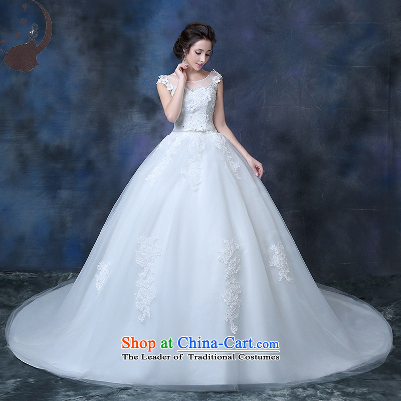 Marriage wedding dresses 2015 autumn and winter new bride to align the word tail package shoulder flowers graphics thin diamond Korean style white streaks in 1822?M