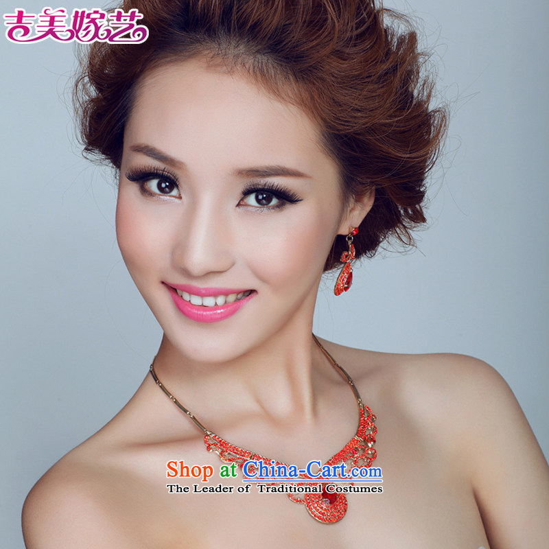 The bride wedding dresses accessories kit Korean TL139 link water drilling jewelry 2015 new marriage necklace green ear