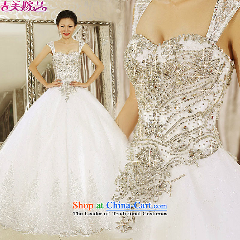 Pre-sale - American married arts wedding dresses 2015 new Korean dual shoulder strap bon bon skirt align to 7643 Diamond Wedding White?M Bride