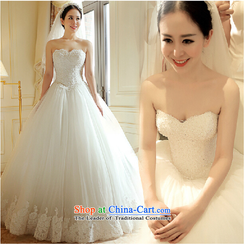 The luxurious wedding dresses foreign trade by 2015 Summer new Korean anointed chest lace video thin bon bon skirt 7796 bride wedding white聽XS