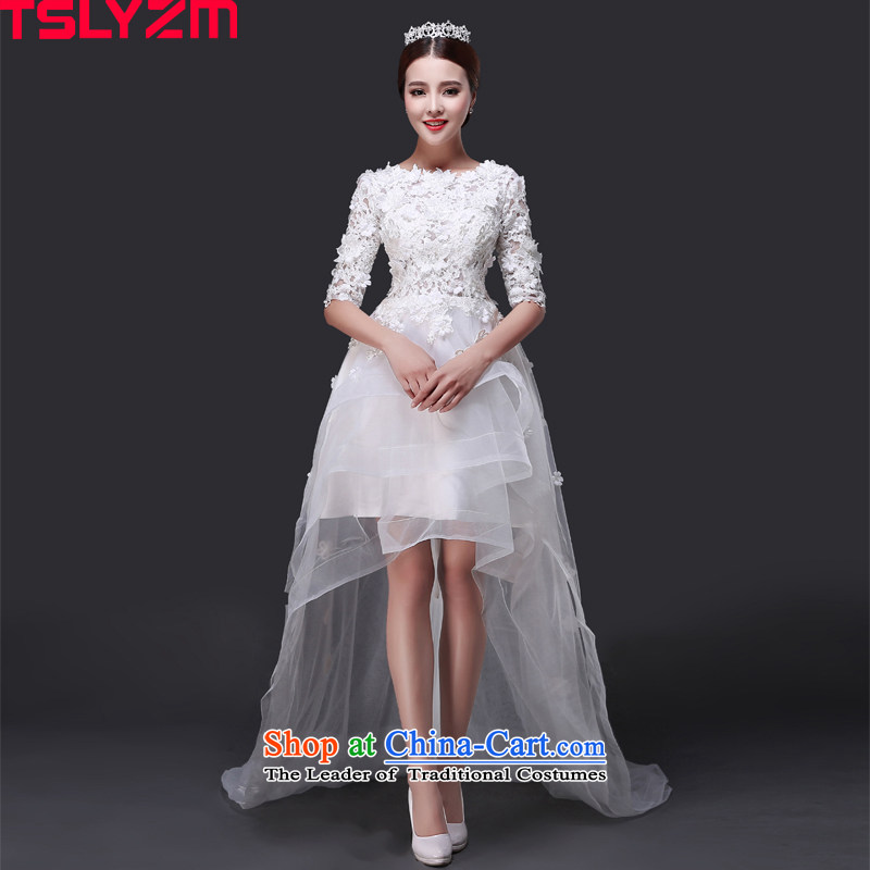 Before long after short tslyzm wedding dresses small trailing gauze slotted shoulder the new 2015 autumn and winter round-neck collar package in shoulder cuff lace wedding dress White XL