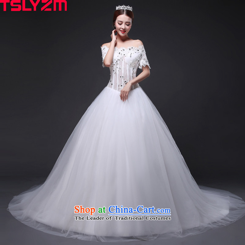 Wedding Dresses Tslyzm Tail To Align The Korean Version Of Marriages With Short Sleeved Princess