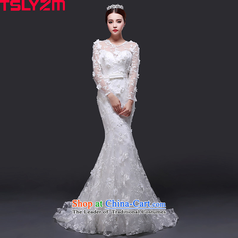 Tslyzm crowsfoot wedding dresses small trailing the new 2015 autumn and winter Flower Fairies  round-neck collar long-sleeved Korean style graphics thin flowers Princess Sau San skirt tail)?S