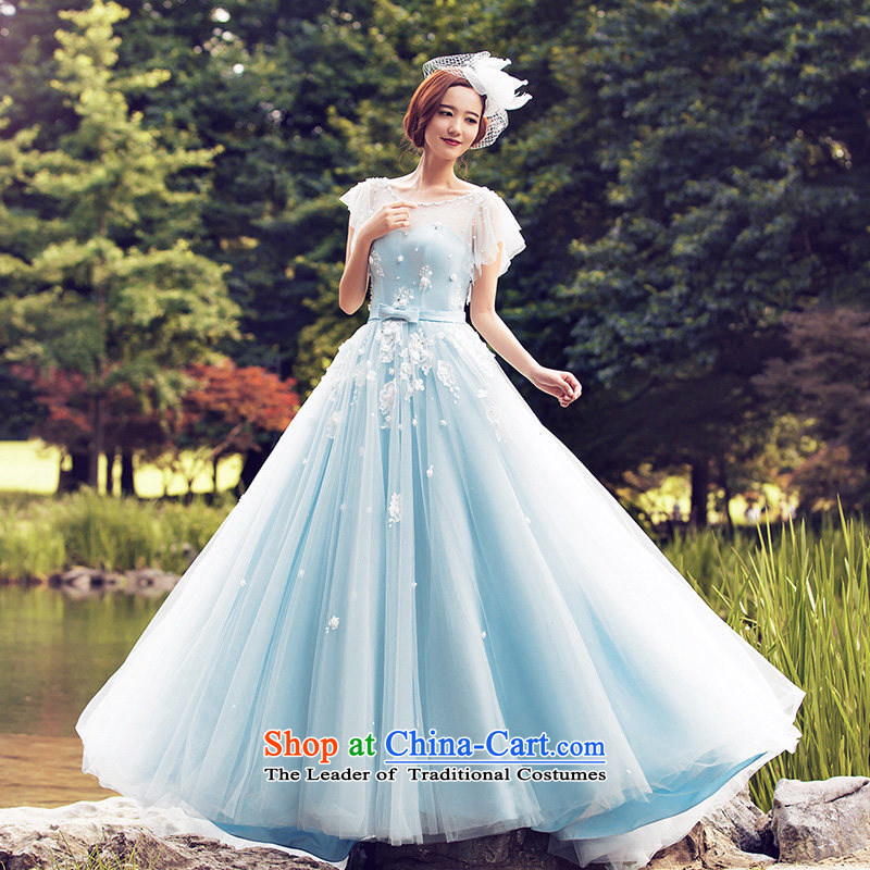 Wedding dresses?2015 Summer Continental to align the wedding shoulders wedding tail2611 Blue?M