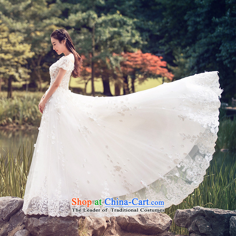 Wedding dresses 2015 Summer lace crowsfoot wedding shawl wedding long tail?2608?White?L